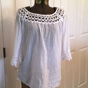 Siganka white cotton lace trimmed blouse